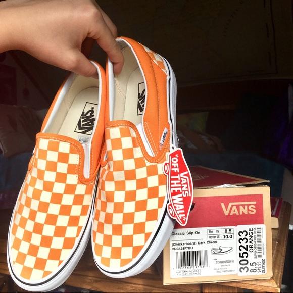 Classic Orange Checkerboard Slipon Vans